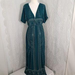 Earth Bound Geometric pattern Maxi Dress